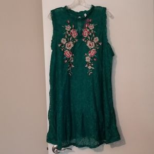Emerald Green Floral Lace Dress XXL